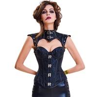 Black Gothic Corset Steampunk Body Shapers Women Slimming Shapewear Top Tummy Underbust High Waist Chest Binder Erotic Lingerie