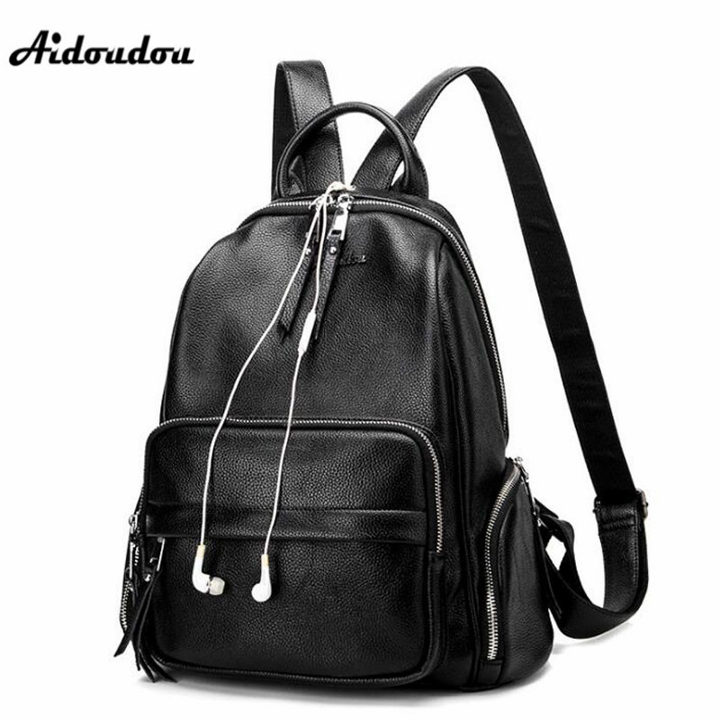 AIDOUDOU Women Backpack High Quality Split Leather Backpacks School Bags  For Teenagers Girls Fashion Luxury Designer-in Backpacks from Luggage   Bags  on ... eff7b64b457b3