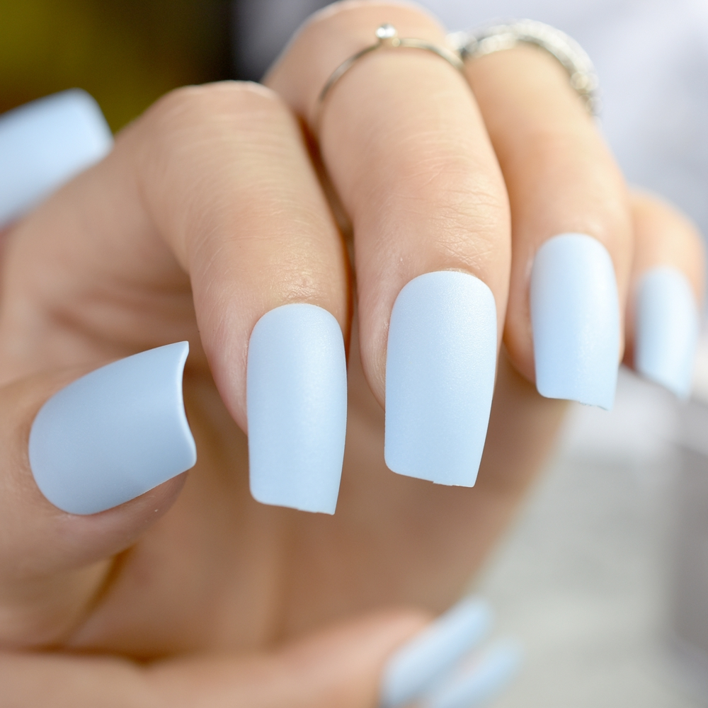 Fashion Matte Fake Nails Flat Top False Light Blue Acrylic Tips Full Cover Manicure Tools In From Beauty Health On Aliexpress