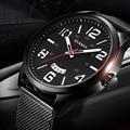 2016 CURREN Reloj de Los Hombres de Primeras Marcas de Lujo Reloj Banda de Malla de Ultra Thin Diseñador Dial negro Reloj de pulsera de Cuarzo reloj hombre xfcs