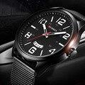 2016 Relógio dos homens Top Marca de Luxo CURREN Mostrador do Relógio Banda Malha Ultra Fino preto Designer Quartz relógio de Pulso reloj hombre xfcs
