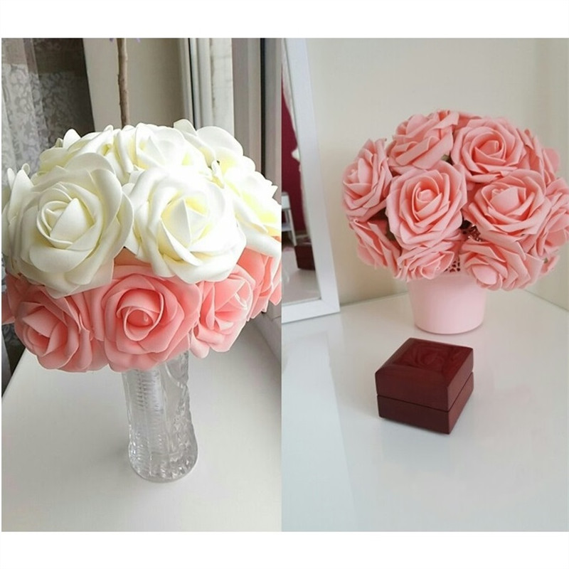 10 Heads 8CM Pretty Charming Artificial Flowers PE Foam Rose Flowers Bride Bouquet Home Wedding Decor Scrapbooking DIY Supplies(China)
