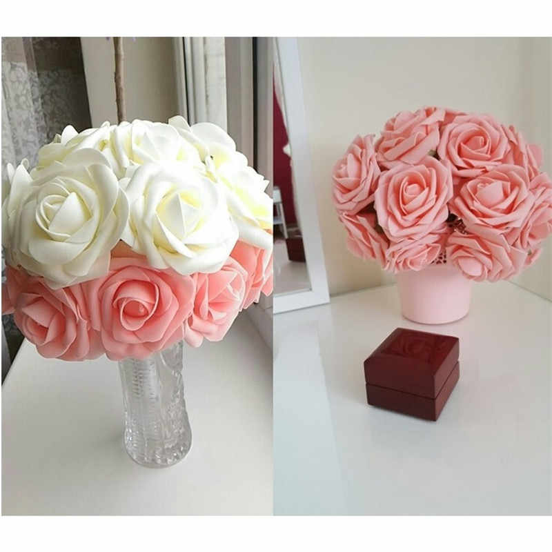 10 Heads 8CM Pretty Charming Artificial Flowers PE Foam Rose Flowers Bride Bouquet Home Wedding Decor Scrapbooking DIY Supplies