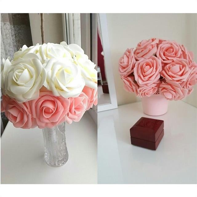 10หัว8ซม.Pretty Charmingดอกไม้ประดิษฐ์โฟมPEกุหลาบดอกไม้เจ้าสาวช่อดอกไม้ตกแต่งบ้านDecor Scrapbooking DIYอุปกรณ์