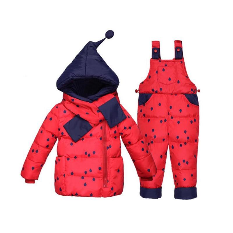 BibiCola winter baby girls clothing sets children down jackets kids snowsuit warm baby ski suit fashion dot outerwear coat+pants все цены
