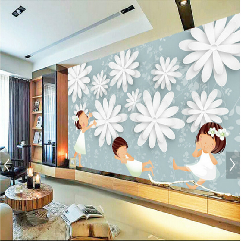 Transparent flowers large children's room living room bedroom wall painting mural wallpaper backdrop stereoscopic 3D wallpaper custom baby wallpaper snow white and the seven dwarfs bedroom for the children s room mural backdrop stereoscopic 3d