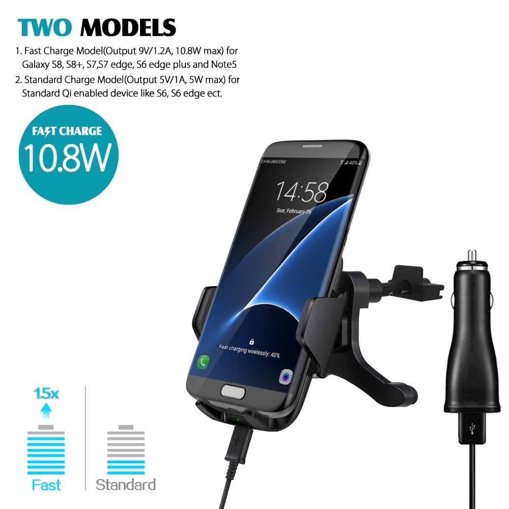 GOLDFOX 10.8W 2A Qi Wireless Car Fast Charger Air Vent Mount Holder For Samsung Galaxy S8, S8+, S6 S7 Note5 S6 edge+ for Iphone