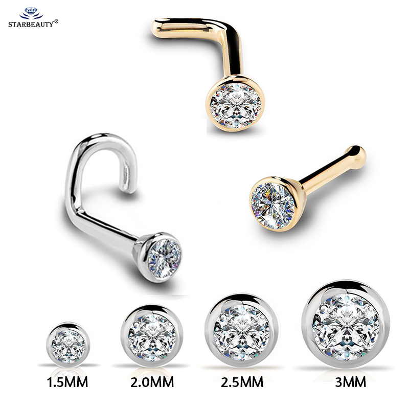 1Pc 20G 1.5/2/2.5/3mm Zircon Gem Bone Nose Stud Piercing Earring Anodized Rose gold Color Nose Ring Prong CZ Nose Jewelry 20g(China)