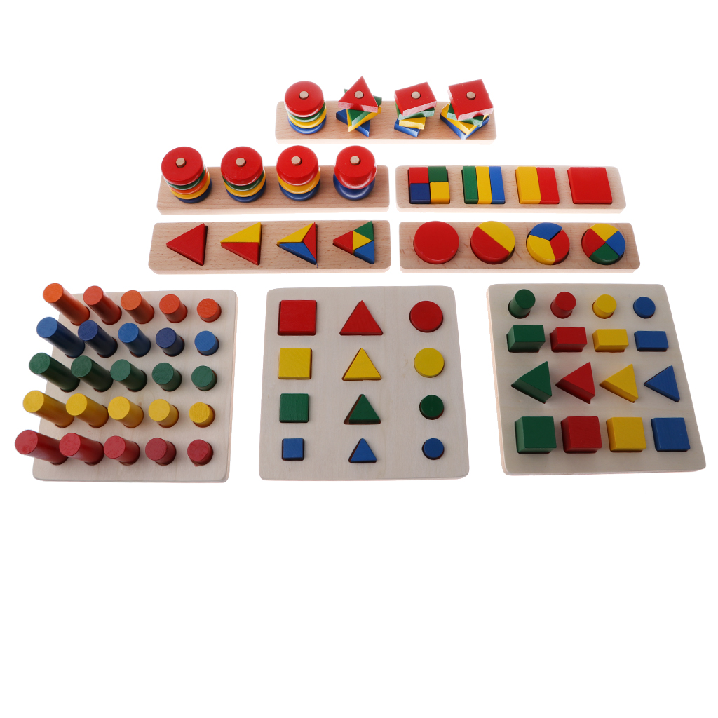 8 Sets Children Preschool Wooden Geometry Blocks Board for Kids Eductional Cognitive Toy itinerant specialist support for preschool inclusion