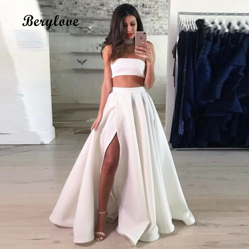 BeryLove Fashion White Two Pieces Prom Dresses 2018 Long Strapless Prom Dress With Slit Special Occasion Dresses Prom Gowns