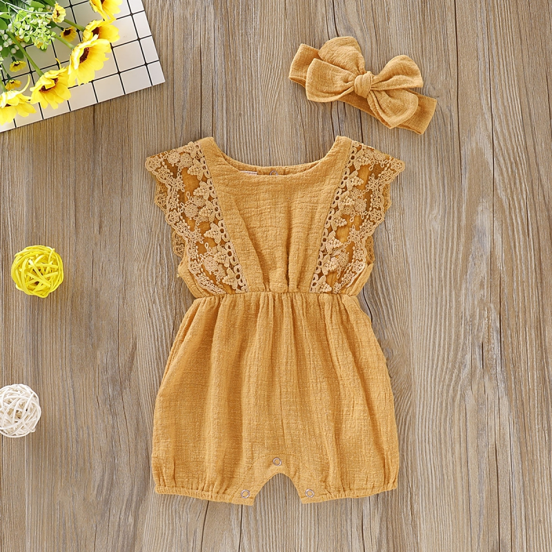 HTB1h9LRd.CF3KVjSZJnq6znHFXam Summer Baby Girl Rompers Newborn Baby Clothes Toddler Flare Sleeve Solid Lace Design Romper Jumpsuit with Headband One-Pieces