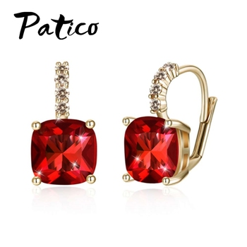 PATICO Latest New Arrival Colorful Square Cubic Zirconia Earrings For Women Fashion 925 Sterling Silver Wedding Party Jewelry