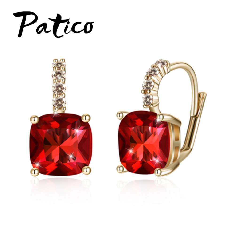 PATICO Latest New Arrival Colorful Square Cubic Zirconia Earrings For Women Fashion S90 Silver Wedding Party Jewelry