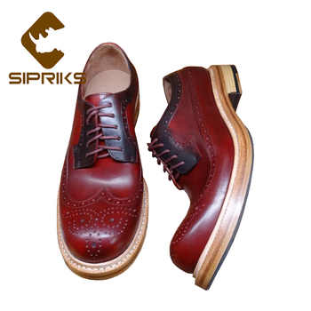 Sipriks Luxury Designer Mens Sewing Welted Shoes Round Toe Wine Red Formal Calf Leather Shoes Boss Brogue Wingtip Dress Gents - Category 🛒 Shoes