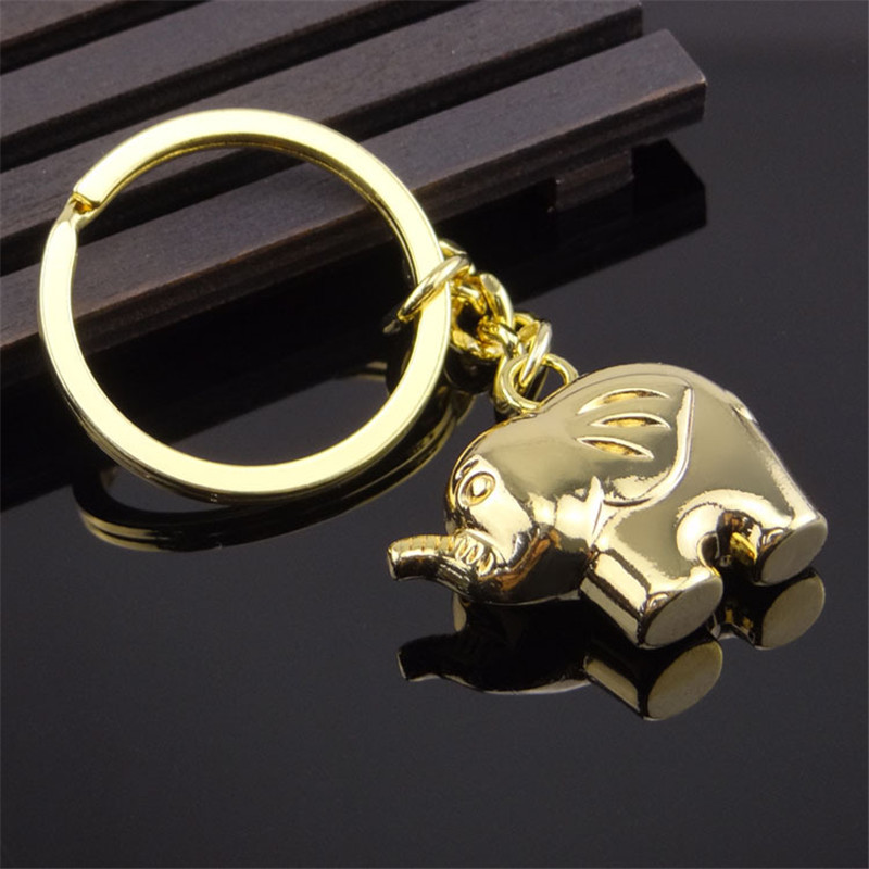 Fashion 3D Elephant Key Ring Chains Gold Silver Trinket Animal Pendant Keyring Men Car Keychain Party Lovers Jewelry Gift in Key Chains from Jewelry Accessories