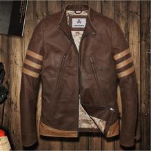 2016 Vintage brown flight bomber jacket sheepskin cowskin fur coat collar pilot leather jacket mens male