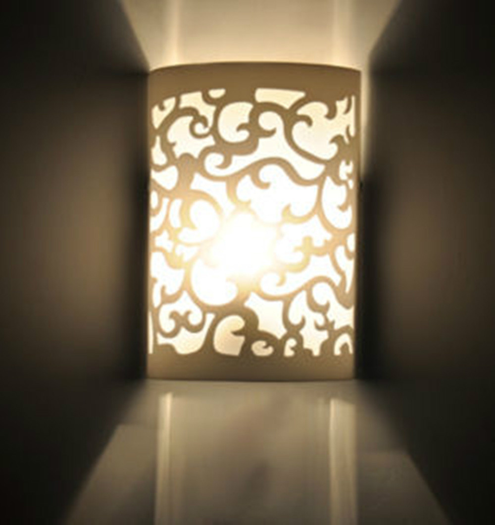modern up dow arc hollow out white wall light sconce lighting lamp
