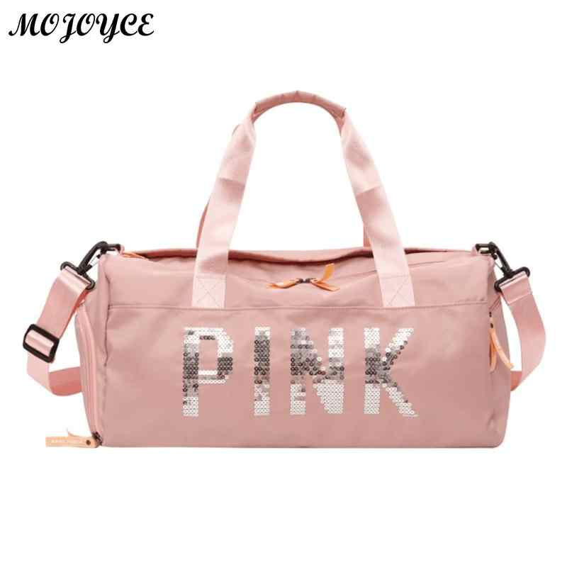 Lady Black Travel Bag Pink Color Sequins Shoulder Bags Women Handbag Women  Weekend Portable Nylon Tote 16b2427205