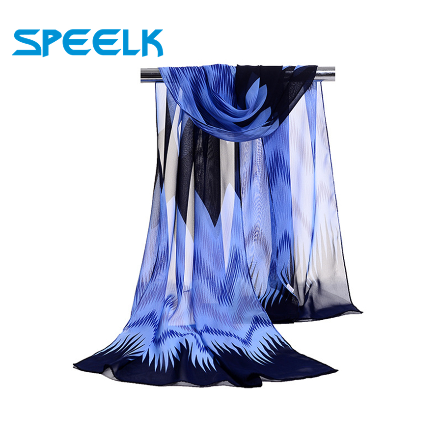 New Chiffon Scarves Women Ripple Summer Scarf  Wild Sunscreen Shawls And Wraps Wave Gradient Hijab Stoles Wholesale