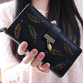 Brand Designer ladies purse leather wallet women High Quality leaves pattern Women Wallets and Purse card holder & note holder
