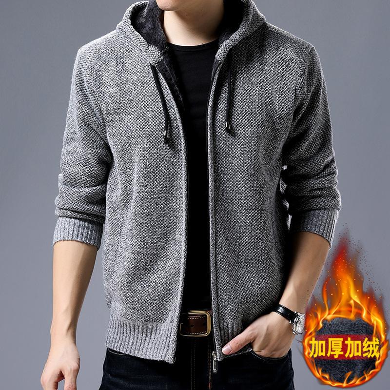 Winter Knit Long-sleeve Cardigan With Velvet Thickening Leisure Warm Coat Zipper Hooded Sweater