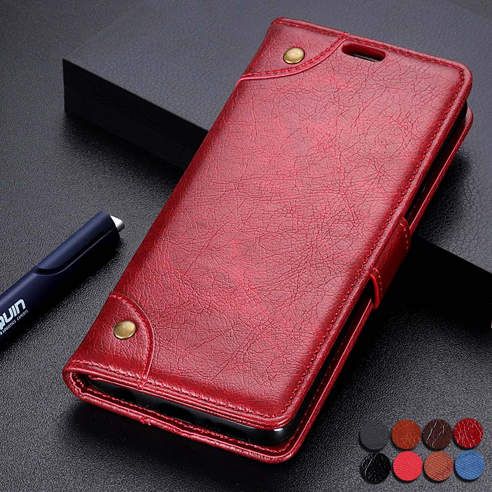 Lomogo Galaxy A2 Core Case Leather Wallet Case with Kickstand Card Holder Shockproof Flip Case Cover for Samsung Galaxy A2 Core LOKTU090230 Red