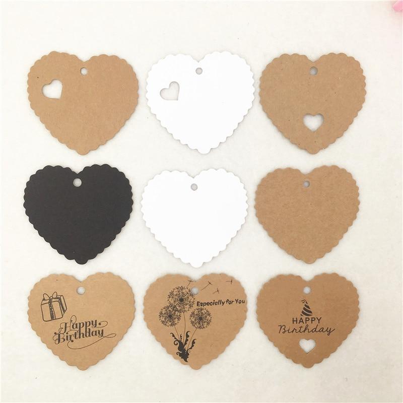 Vários Estilos de Feliz Aniversário Pendurar Tag de Papel Kraft Especialmente Para Você da Forma Do Coração Coração Oco Pendurar Tags de Etiquetas Mark 50 pçs/lote