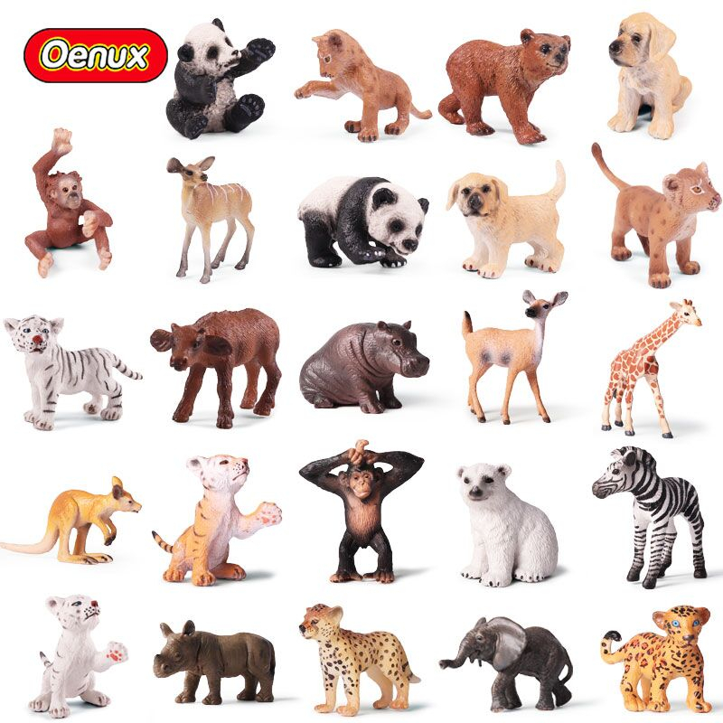 Oenux Original Lion Tiger Leapord Giraffe Animal Simulation Model Action Figure Small Size Wild Animals Figurines Toy For Kids free delivery original afb1212she 12v 1 60a 12cm 12038 3 wire cooling fan r00