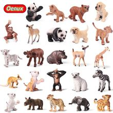 Oenux Original Lion Tiger Leapord Giraffe Animal Simulation Model Action Figure Small Size Wild Animals Figurines Toy For Kids oenux original savage wild animal wolf action figure gray wolf beast wolves model figurine pvc high quality collection toys gift