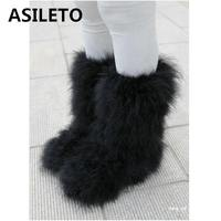 ASILETO Winter Women Snow Boots Genuine Real hairy Ostrich Feather furry Fur flats plush warm ski outdoor boots shoes botte T553