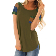 Summer new hot striped womens T-shirt fashion short-sleeved casual loose stitching pocket