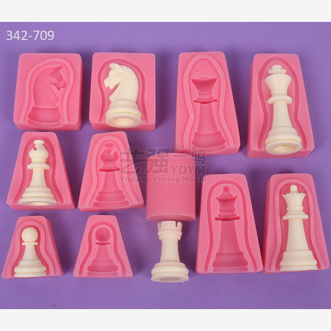 12pcs Set International Chess King Queen Knight Rook Pawn Bishop Double Sided Fondant Cake Chocolate Molds