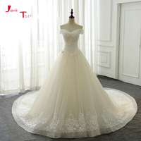 Jark Tozr Newest Off The Shoulder Short Sleeve A Line Wedding Gowns 2018 Vestido De Noiva