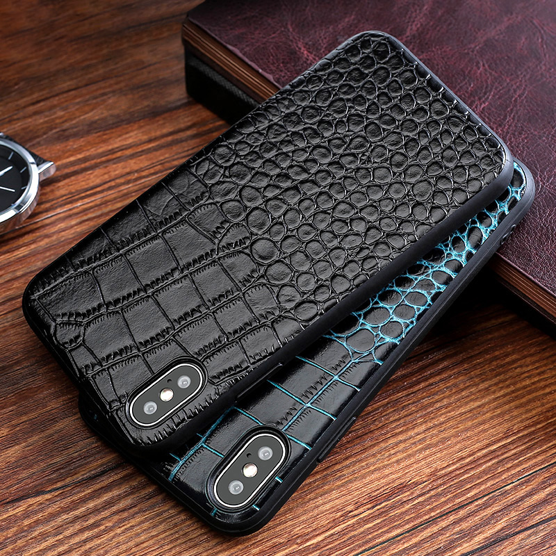 Genuine leather Phone case For iPhone X 6 6S 7 8 Plus 5 5S SE Crocodile texture Cowhide handmade back cover For 6p 7p 8p cases