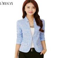 2018 Bahar V Boyun Şık Kadın Blazers Mavi Kore Slim Fit kadın Blazer Kadın Ofis Işleri Takım Ceketler Beyaz Mavi Artı Boyutu