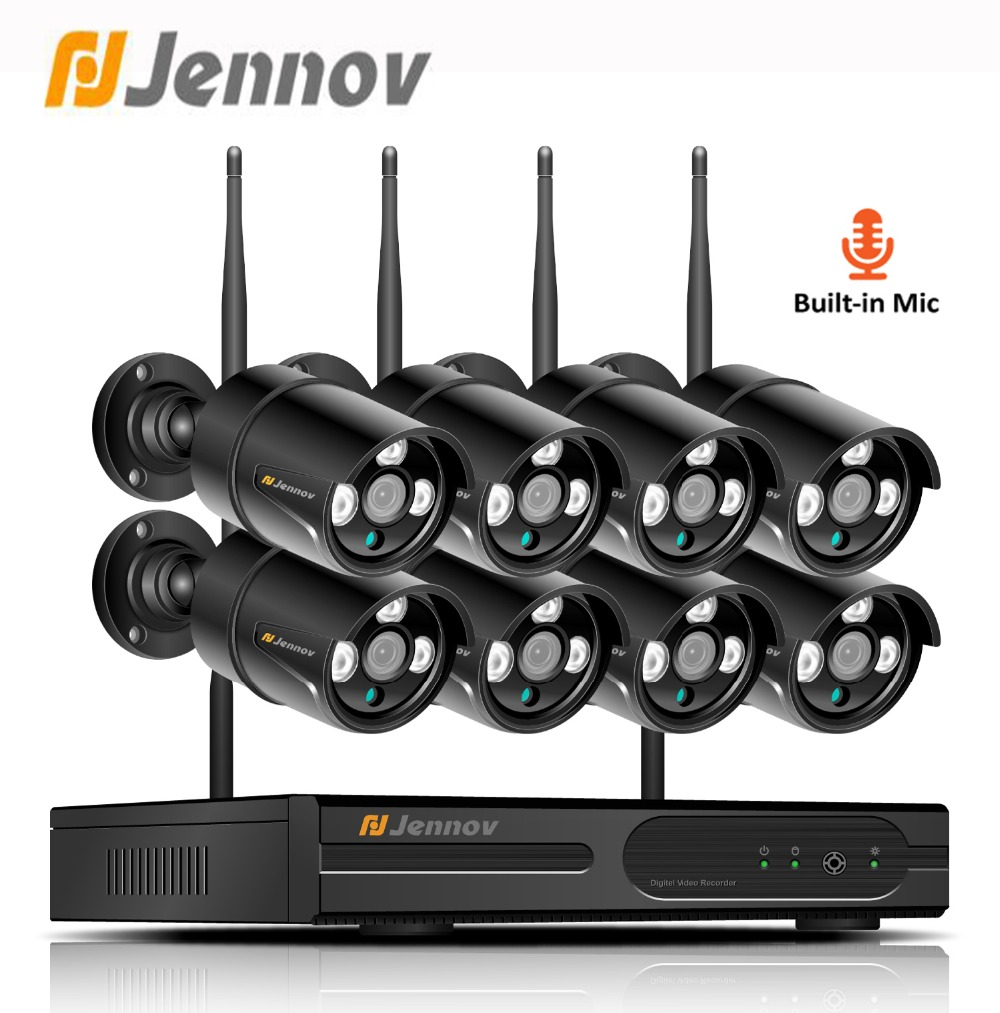Jennov 1080P 8CH 2MP Video Surveillance IP Camera WIFI outdoor CCTV Camera Audio System Home Security Wireless Camera NVR Kit