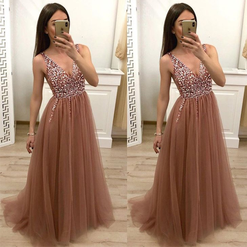 Long Prom Dresses Elegant Deep V-neck A-line Tulle Skirt Sequins Beading Brown Formal Party Dresses Evening Vestidos De Formal