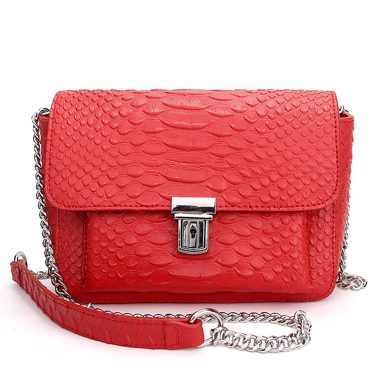 Brand Genuine Leather Messenger Bag Women Snakeskin Chain Crossbody Bag High Quality Crocodile Handbag Designer bolsa