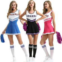 2019 New Sexy High School Cheerleader Costume Cheer Girls Uniform Party Outfit  Pompoms summer dress