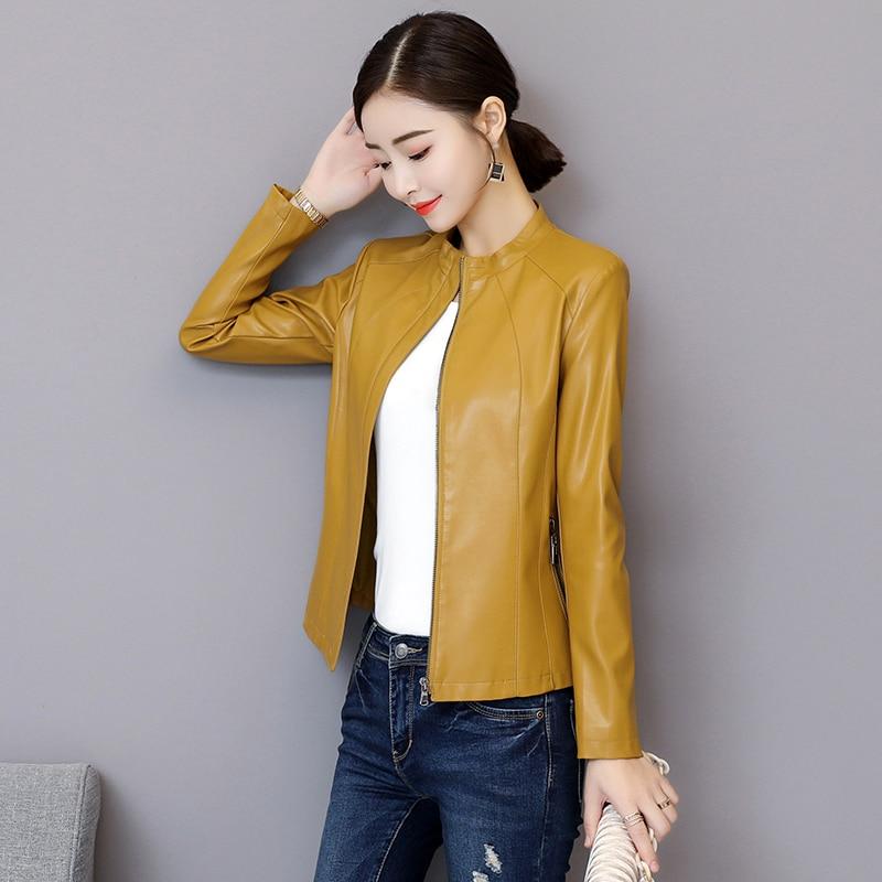 Jaqueta De Couro Limited Jaqueta Couro 2018 Autumn Clothing   Leather   Jacket Female Section Slim Blazer Coat Pu Motorcycle Parka