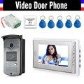 7 Inch Screen Video Door Phone Doorbell Intercom System kits +5 PCS RFID Key + IR Camera + 12V DC Power Supply+ Door Exit Botton
