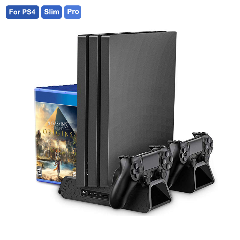 PS4/PS4 Slim/PS4 PRO Vertical Stand with Cooling Fan Cooler Dual Controller Charger Charging Station for SONY Playstation 4