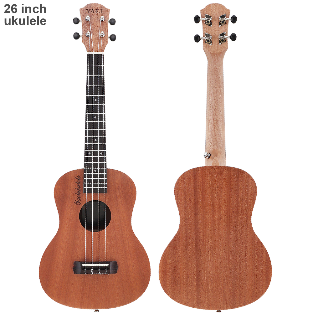 26 inch 18 Frets Sapele Wood Tenor Ukulele Guitar Rosewood 4 Strings Hawaiian Guitar Musical Instruments For Beginners andrew zebra in the 23 inches mr kerry wood small guitar beginners gray unisex ukraine lili