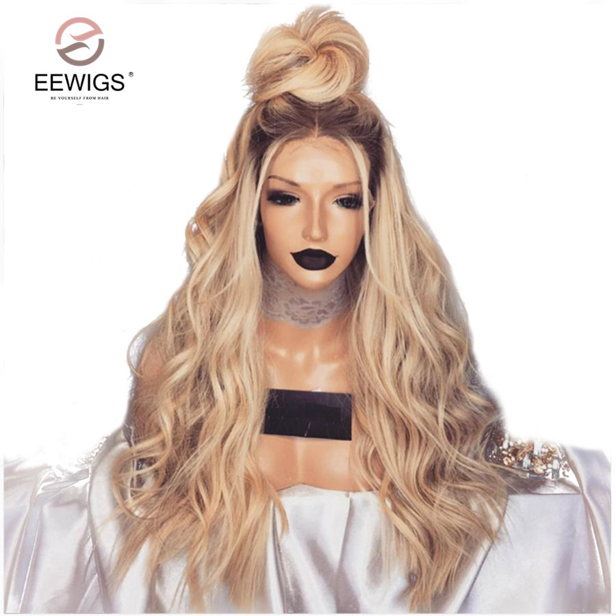 EEWIGS 180% Density Ombre Blonde Wig Heat Resistant Synthetic Lace Front Wig With Baby Hair 24Inch Wavy Wigs For Black Women