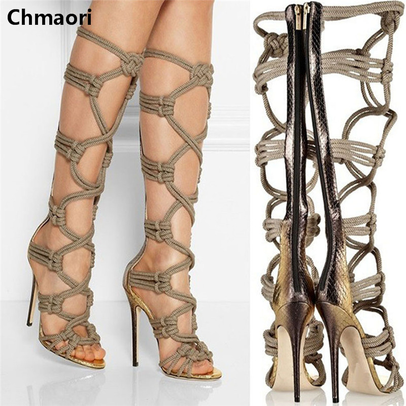 Unique Design Peep Toe Thin High Heels Boots Cut-outs Knee HIgh Sandal Boots Zipper Gladiator Zapatos Mujer Summer Boots Women gorgeous black open toe side lace up knee high summer sandal boots 2017 new back zipper hollow out gladiator sandal summer heels