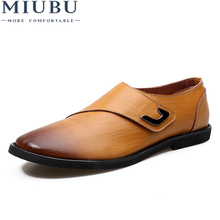 MIUBU 2019 New Arrival Men Flats Driving Shoes Fashion Handmade Genuine Leather Casual Loafers Breathable
