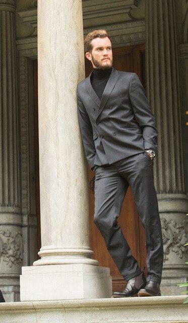Pantalon multi Personnalisé Fit Gris Pièces Breasted 2017 Hommes Blazer Slim 2 De Double Modèles Smoking Costumes Marron Mariage Nouveaux Formelle veste RqwfwZnU