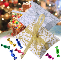 European Style Pillow Shape Printing Gift Candy Box Decor Wedding Party 50 Pcs Wedding Candy Bags