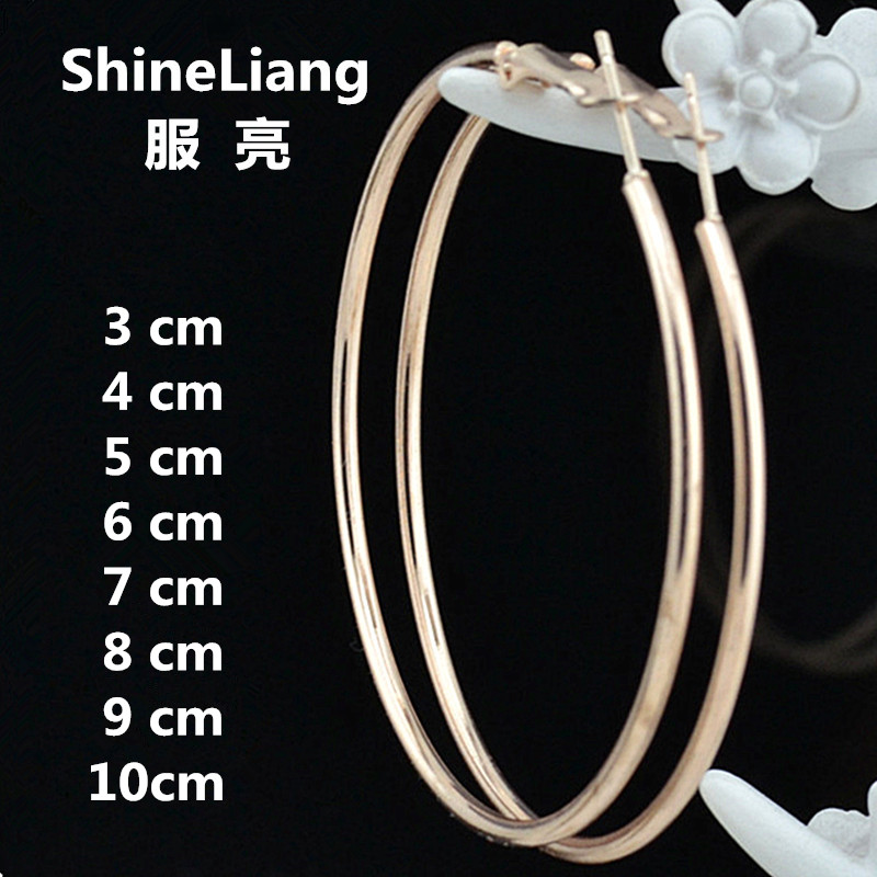 Shineliang 2018 Wholesale Big Circle Hoop Earrings for women Female Fashion brand rose gold black ring ear jewelry nightclub DJ