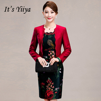 It's Yiiya Mother of the Bride Dresses Plus Size 2 Piece Set Flower Pattern Embroidery Fashion Elegant Mother Dress M011